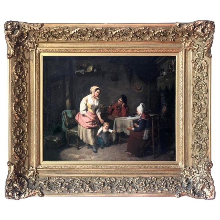 19th Century Painting Interior Scene by Pierre Duval Le Camus For Sale