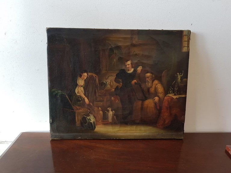 European 19th Century Painting of a Antique Dealer/Notary, Signed Francois M.J. Delporte For Sale