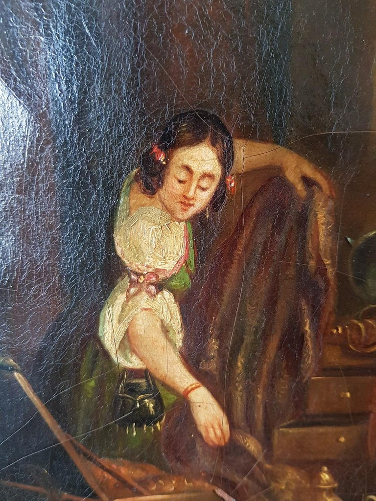 19th Century Painting of a Antique Dealer/Notary, Signed Francois M.J. Delporte For Sale 1