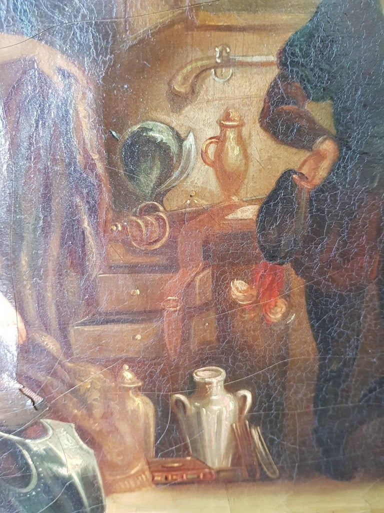 19th Century Painting of a Antique Dealer/Notary, Signed Francois M.J. Delporte For Sale 3