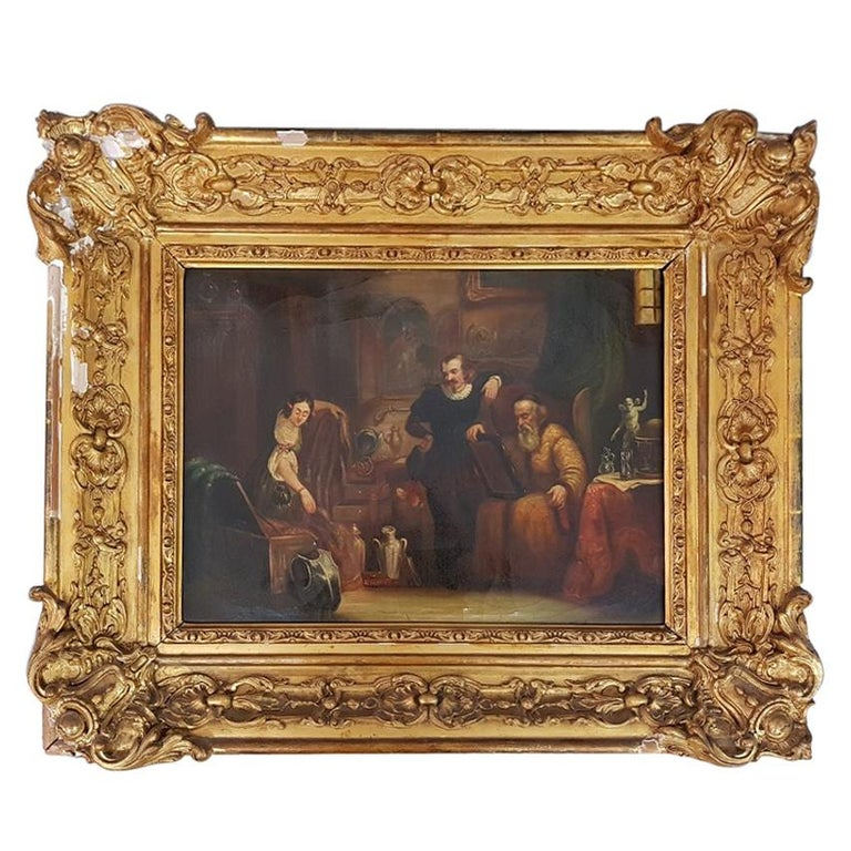 19th Century Painting of a Antique Dealer/Notary, Signed Francois M.J. Delporte For Sale