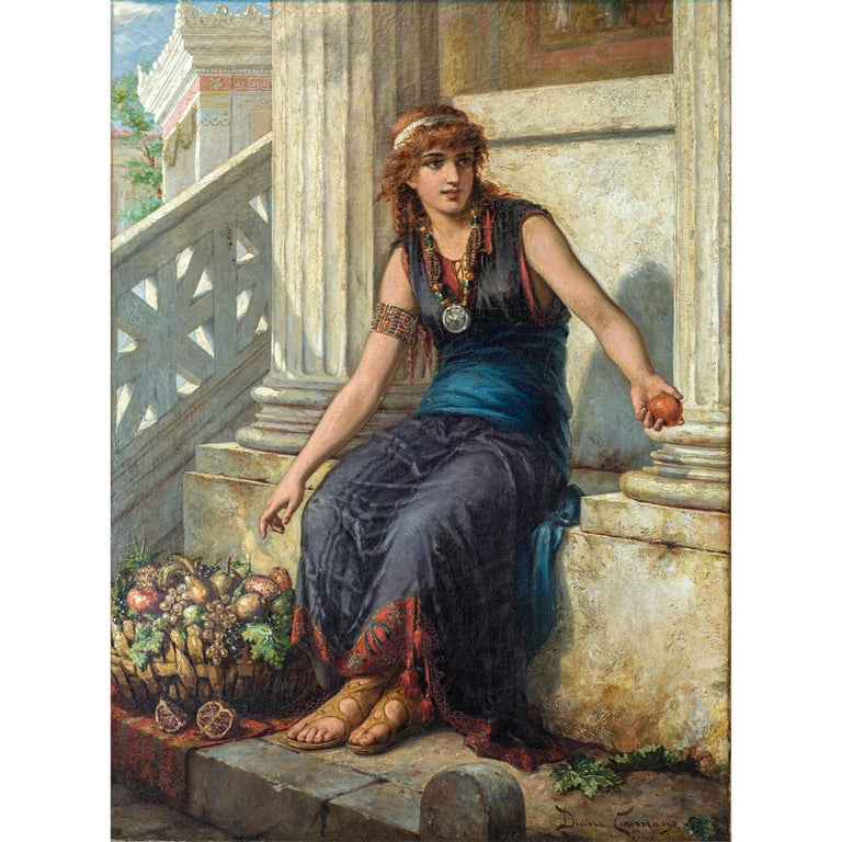 A fine quality painting of a fruit vendor holding an apple by Diana Coomans. 