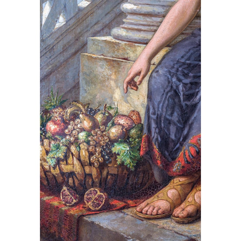 Painted 19th Century Painting of a Fruit Vendor Holding an Apple by Diana Coomans For Sale