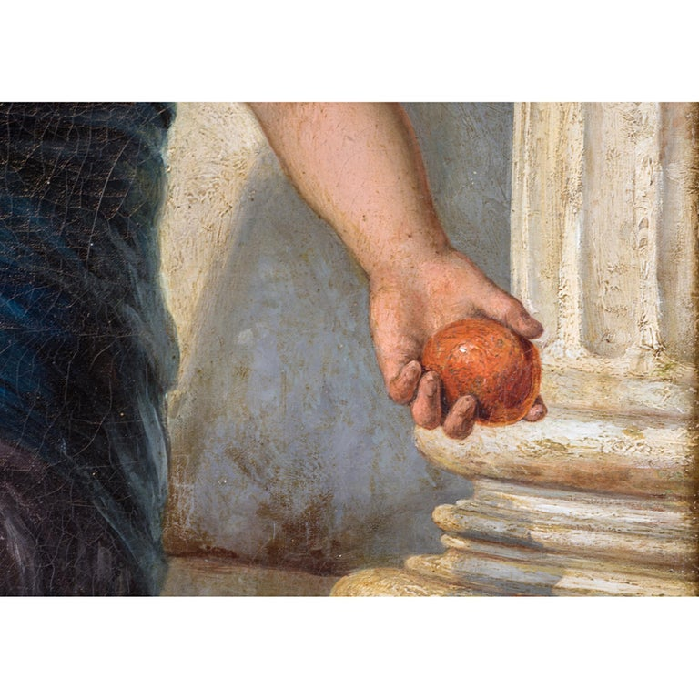 19th Century Painting of a Fruit Vendor Holding an Apple by Diana Coomans In Excellent Condition For Sale In New York, NY