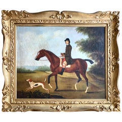 19th Century Painting of a Rider and Hound in the Countryside