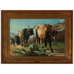 19th Century Painting of Oxen in Italy by Danish Painter Adolf Mackeprang