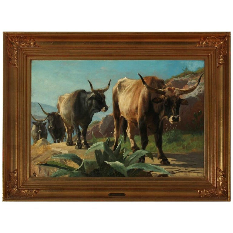 19th Century Painting of Oxen in Italy by Danish Painter Adolf Mackeprang For Sale