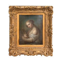 19th Century Painting of Woman Holding Rabbit in Giltwood Frame