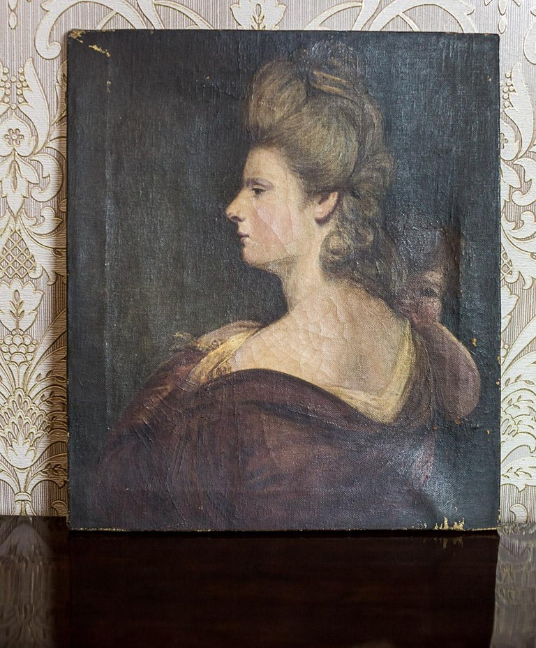 19th Century Painting, Oil on Canvas, A Portrait of a Woman For Sale 7