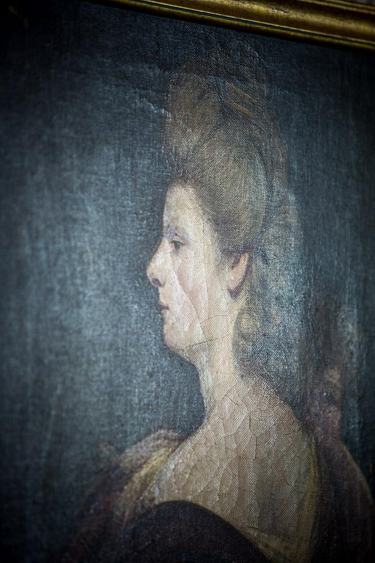 19th Century Painting, Oil on Canvas, A Portrait of a Woman For Sale 8