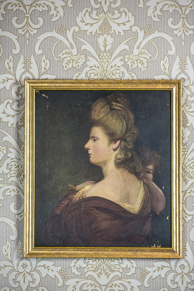 19th Century Painting, Oil on Canvas, A Portrait of a Woman In Good Condition For Sale In Opole, PL