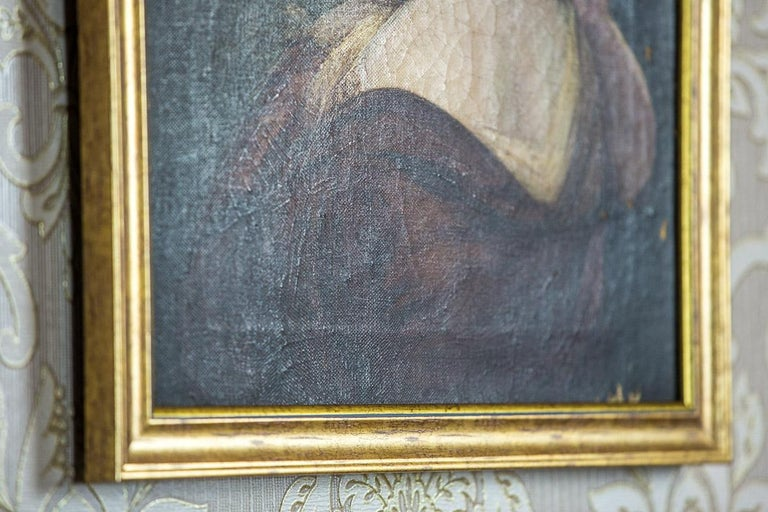 19th Century Painting, Oil on Canvas, A Portrait of a Woman For Sale 1