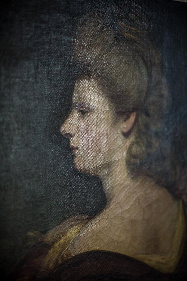 19th Century Painting, Oil on Canvas, A Portrait of a Woman For Sale 3