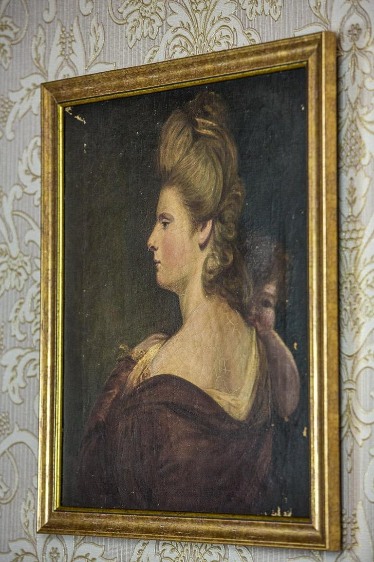 19th Century Painting, Oil on Canvas, A Portrait of a Woman For Sale 4
