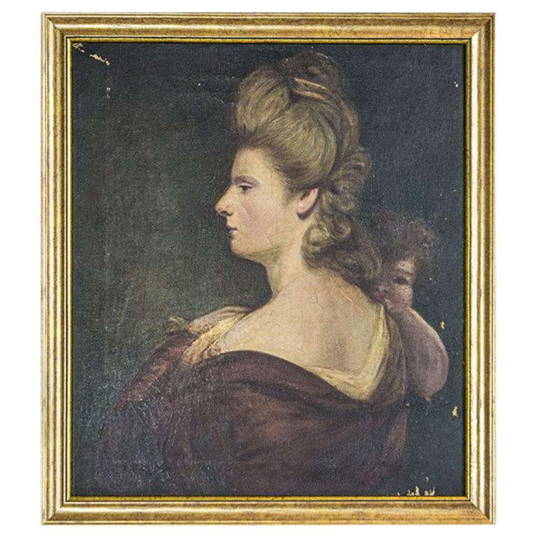 19th Century Painting, Oil on Canvas, A Portrait of a Woman For Sale