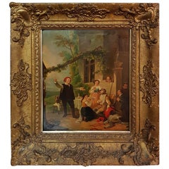 19th Century Painting on Panel in the Style of Sir David Wilkie