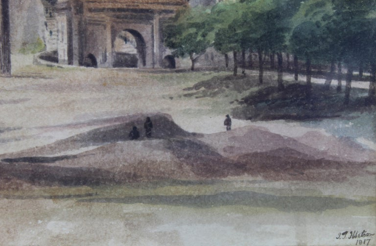 19th Century Painting Watercolor View of Roman Forum by Ibbetson Signed Dated 4