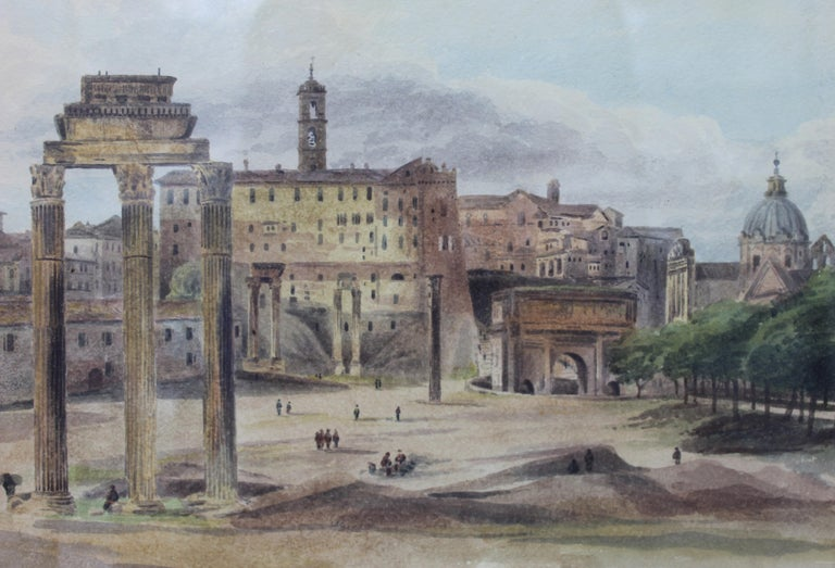 19th Century Painting Watercolor View of Roman Forum by Ibbetson Signed Dated 5