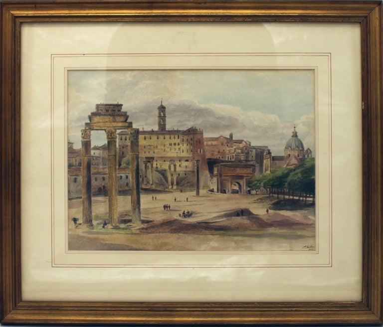 19th Century Painting Watercolor View of Roman Forum by Ibbetson Signed Dated 6