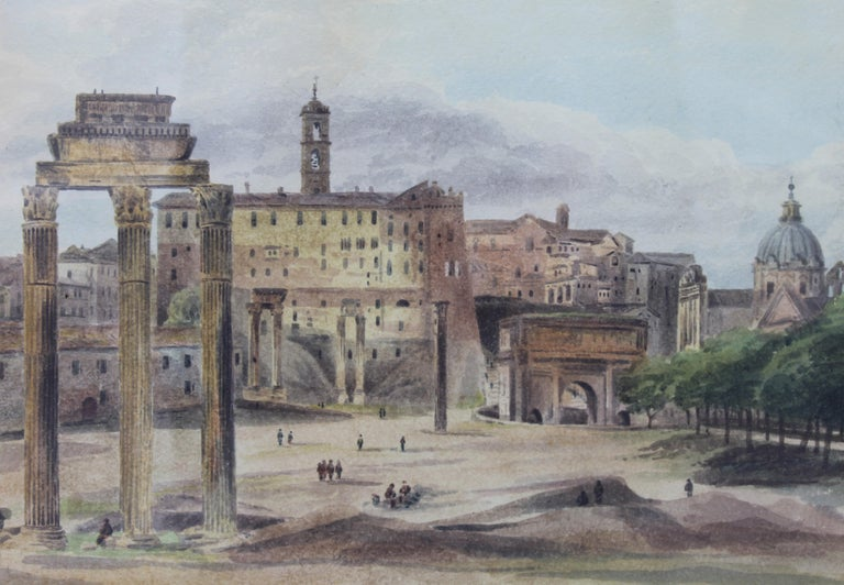 This view of the Roman Forum show a daily scenes of Roman life before the complete Campaign excavation; painted by John Thomas Ibbetson, later Sir John Thomas Selwyn, 6th Bart (sometimes Selwin), Ibbetson was born in 1789, younger son of Sir James