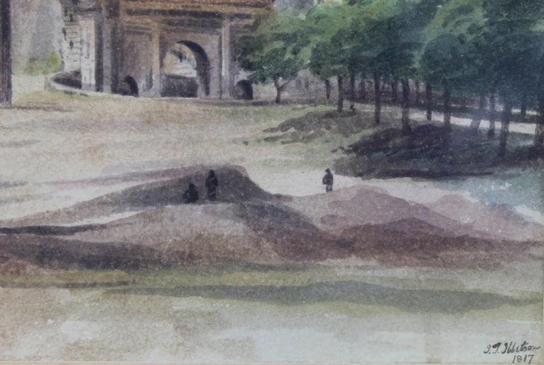 Italian 19th Century Painting Watercolor View of Roman Forum by Ibbetson Signed Dated