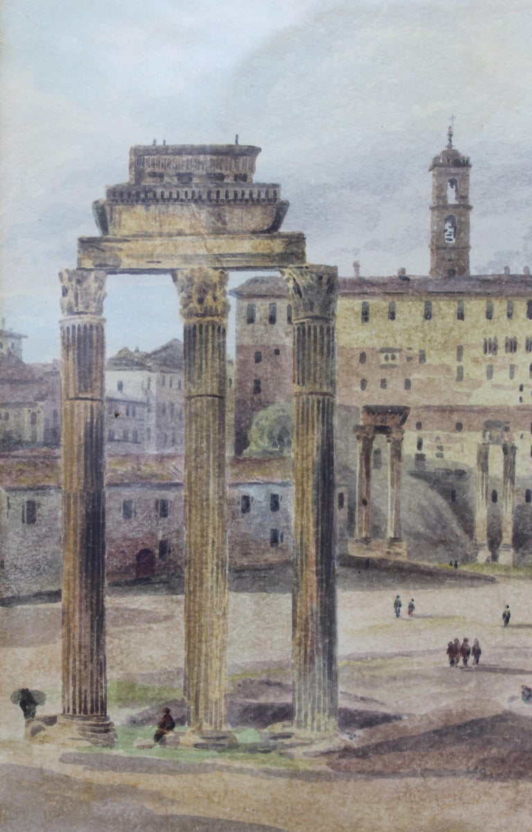 Hand-Painted 19th Century Painting Watercolor View of Roman Forum by Ibbetson Signed Dated