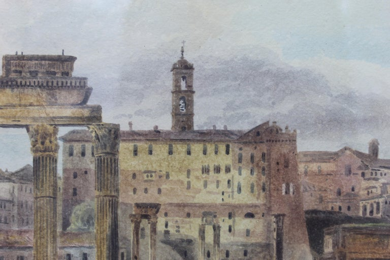 19th Century Painting Watercolor View of Roman Forum by Ibbetson Signed Dated In Good Condition In Roma, IT