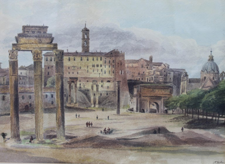Paper 19th Century Painting Watercolor View of Roman Forum by Ibbetson Signed Dated