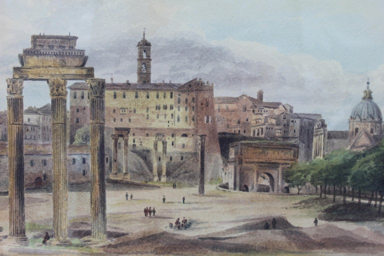 19th Century Painting Watercolor View of Roman Forum by Ibbetson Signed Dated 1
