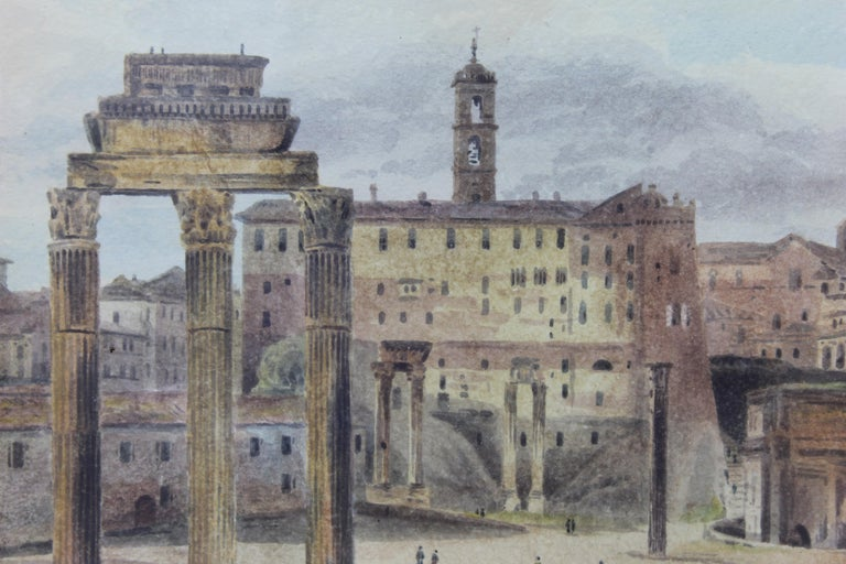 19th Century Painting Watercolor View of Roman Forum by Ibbetson Signed Dated 2