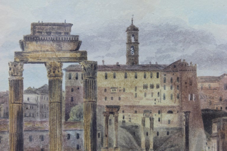 19th Century Painting Watercolor View of Roman Forum by Ibbetson Signed Dated 3
