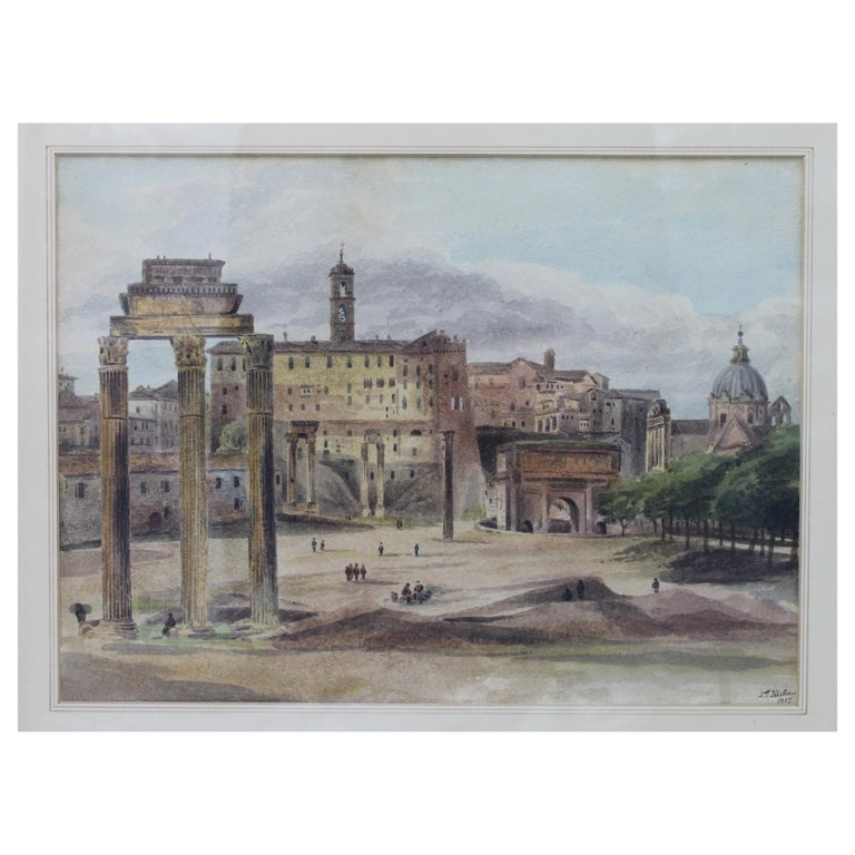 19th Century Painting Watercolor View of Roman Forum by Ibbetson Signed Dated