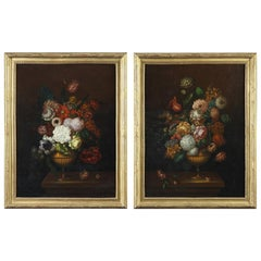 19th Century Paintings Flower Bouquets in the Dutch School Style