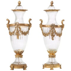 19th Century Pair Baccarat Crystal / Bronze Mounted Urns / Vases
