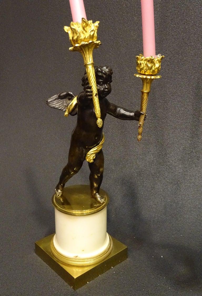 19th Century Pair Candelsticks, Sculptures of Puttis Bronze, Giltbronze Marble For Sale 3