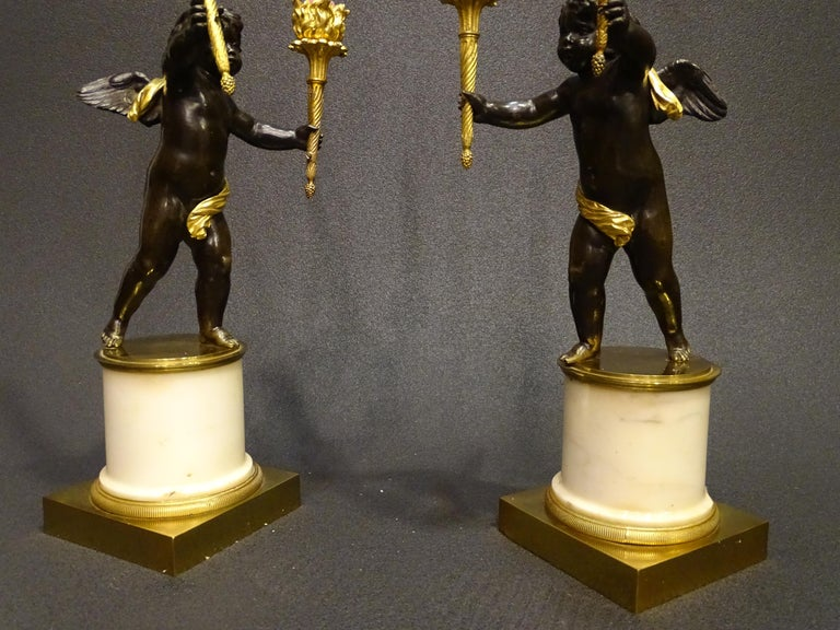 19th Century Pair Candelsticks, Sculptures of Puttis Bronze, Giltbronze Marble For Sale 4