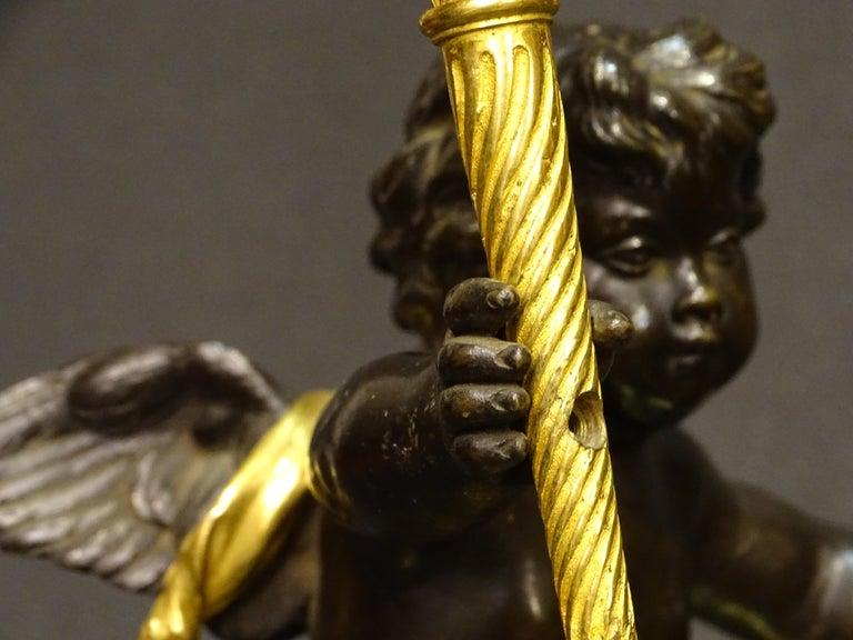 19th Century Pair Candelsticks, Sculptures of Puttis Bronze, Giltbronze Marble For Sale 7