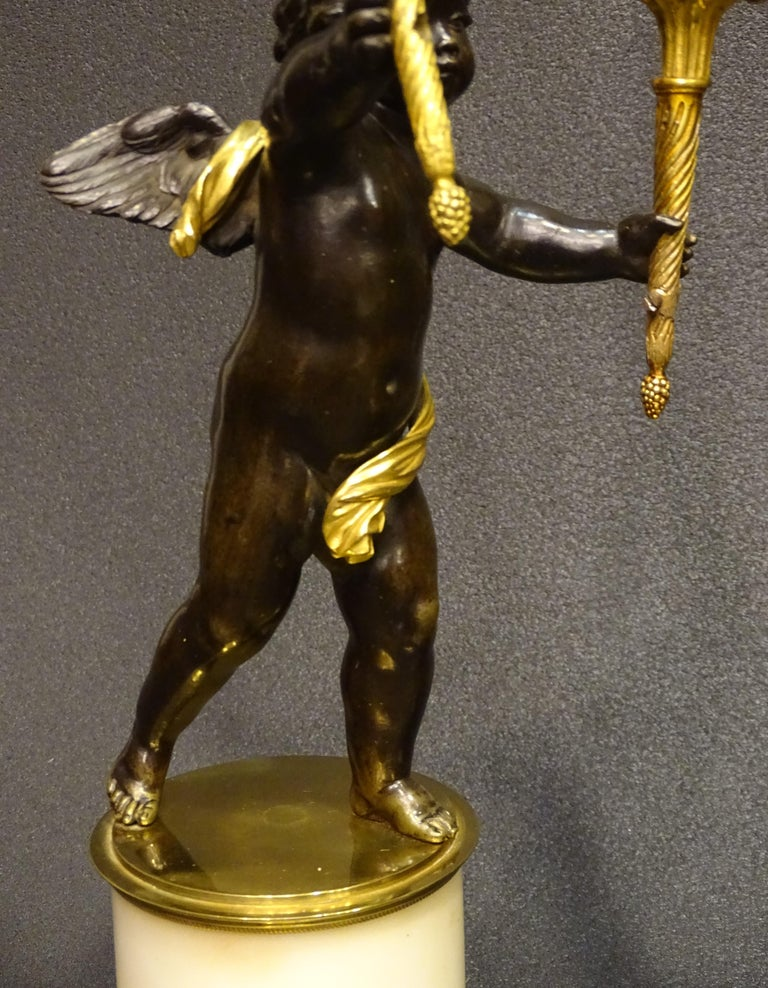 19th Century Pair Candelsticks, Sculptures of Puttis Bronze, Giltbronze Marble For Sale 9