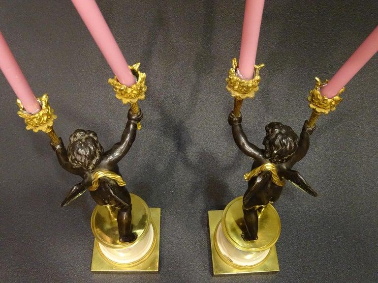 19th Century Pair Candelsticks, Sculptures of Puttis Bronze, Giltbronze Marble For Sale 13