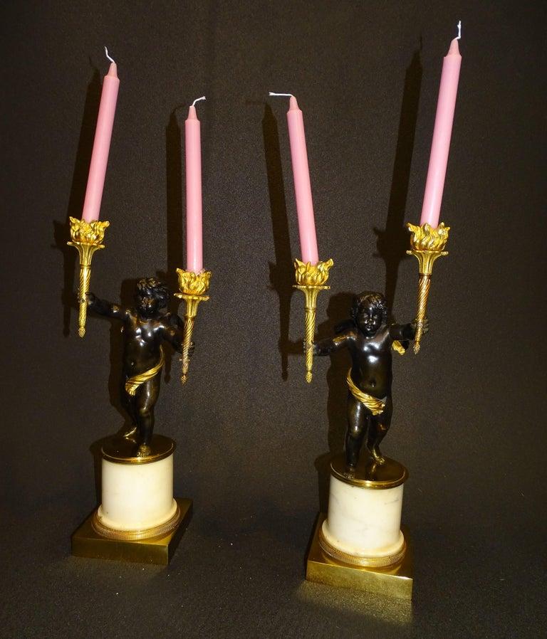 19th Century Pair Candelsticks, Sculptures of Puttis Bronze, Giltbronze Marble In Good Condition For Sale In Valladolid, ES