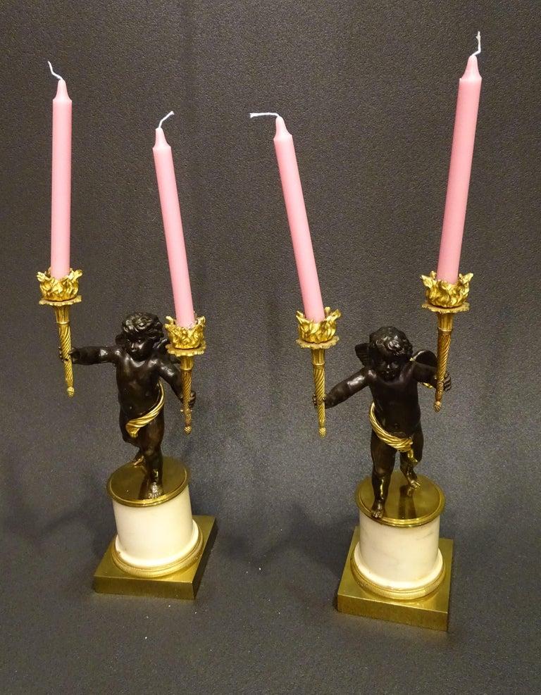 Mid-19th Century 19th Century Pair Candelsticks, Sculptures of Puttis Bronze, Giltbronze Marble For Sale