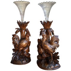 Pair of Carved Wood Black Forest Chicken Vase Epergne Candleholder Set