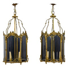 19th Century, Pair of French Gilt Bronze and Shaped Glass Lanterns