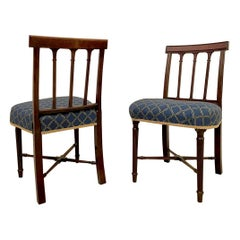 19th Century Pair of George III Antique Mahogany Side/Desk Chairs