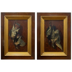 19th Century Pair of Hanging Game Paintings by A. Fortny