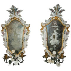 19th Century Italian White Maiolica Mirrors with Flowers in Baroque Style, Pair