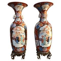 19th Century Pair, Japanese Meiiji Imari Porcelain Vases
