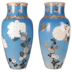 19th Century Pair Japanese Satsuma Hand Floral and Gilt Pottery Floor Vases