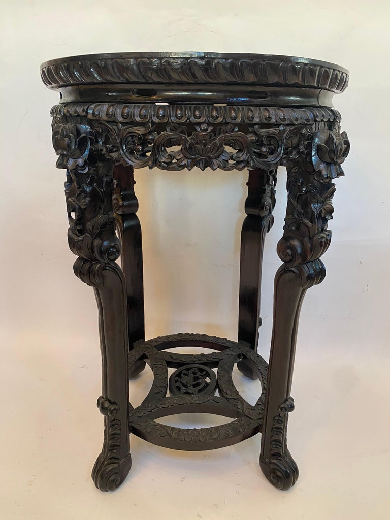 19th Century Pair of Chinese Carved Rosewood Flower Stands Marble-Top For Sale 8