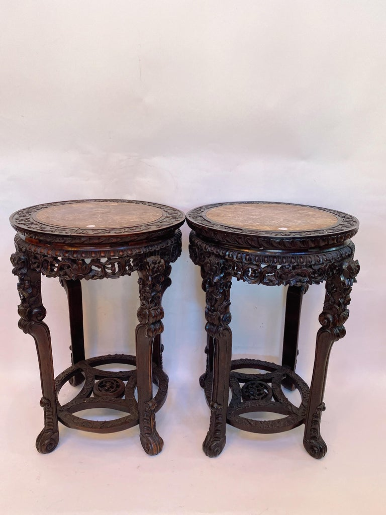19th Century Pair of Chinese Carved Rosewood Flower Stands Marble-Top For Sale 9